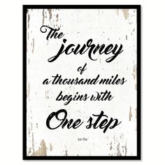 The Journey Of A Thousand Miles Lao Tzu Inspirational Quote Saying Gift Ideas Home Decor Wall Art