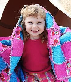 Bright Pink & Blue Child's Rag Quilt by JJandCompany on Etsy