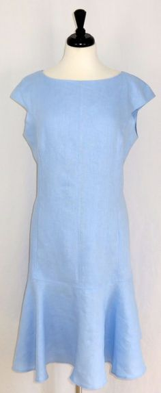 Anne Klein Blue 100% Linen Career Dress Cap Sleeves Flounce 16 #AnneKlein #BeltLoopsFlounceSkirtSheath #WeartoWork