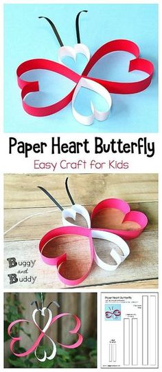 Paper Heart Butterfly Craft Using Paper Strips: Easy paper butterfly craft for kids perfect for spring or Valentine's Day! Post even includes a free printable template to help make this project super simple! ~ BuggyandBuddy.com #butterflycraft #heartcraft via @https://www.pinterest.com/cmarashian/boards/