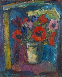 Poppies at the Window, 1959 by William MacTaggart (Scottish 1903-1981)
