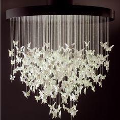 New origami crane lamp light fixtures Ideas Girls Chandelier, Ribbon Chandelier, Chandelier Ideas, White Chandelier, Chandelier Lighting, Origami Design, Origami Art, Design Studio, Little Girl Rooms