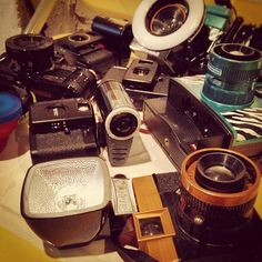 The lomography collection of cameras backstage at Frank