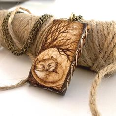 Beautiful Curled Fox in Woodland Sycamore Pyrography Pendant Necklace Wooden Memory Box, Woodland Creatures, Pyrography, Silver Color, Unique Gifts, Im Not Perfect, Reusable Tote Bags, Pendants, Pendant Necklace