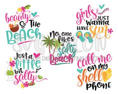 SVG Files for Cricut and Silhouette Machines Circuit Projects, Vinyl Projects, Photo Girly, Free Font Design, Free Svg, Vector Free, Beach Quotes, Seaside Quotes, Monogram Decal