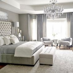 One of the reasons why you need some new master bedroom ideas is because that you might feel bored with your old bedroom design. It's understandable because the bedroom is the room where you may spend… Master Bedroom Design, Home Decor Bedroom, Luxury Master Bedroom, Master Bedroom Chandelier, Beds Master Bedroom, Bedroom Curtains, Bedroom Chandeliers, Master Bed Room Ideas, Master Bedroom Furniture Ideas