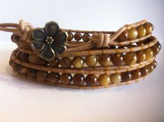 Amber Shell beaded leather wrap bracelet by FreckleLoveCreations, $35.00