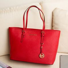 MK Jet Set Travel Saffiano Leather Top-Zip Tote – Red – CHICS – Beautiful Handbags & Accessories