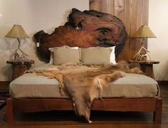 Rustic Wood Bed | Redwood Slab Headboard. Designed and built by Kelly Maxwell at Littlebranch Farm. Using some of our Ethically Sourced Redwood.