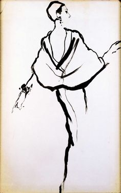 Antonio Lopez DOUBLE SIDED DRAWING Charles James, Bill Cunningham's Label William J., ca.1965/66