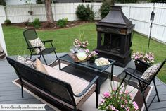 Back Deck Pergola - love outdoor fireplace!