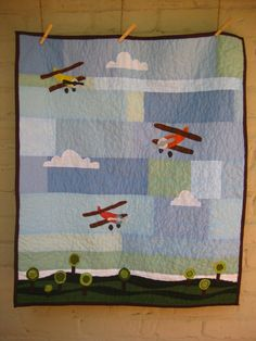 Fly Away quilt. So neat. Like the tones of blue for the sky.
