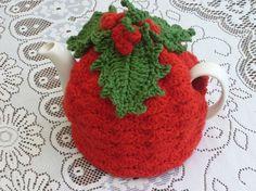 Cup Crochet Tea Cosy/ Tea Cozy/ Cosy/ Cozy Christmas Design Red with Holl