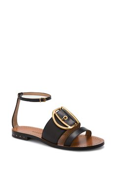 Leather Sandal In Black - Bally Resort 2016 - Preorder now on Moda Operandi