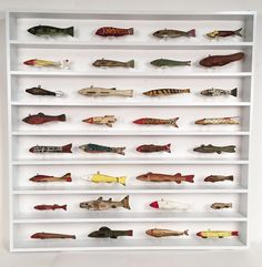 "Lost Found Art - Ice Fishing Decoys A collection of 32 antique and vintage carved wooden ice fishing fish decoys displayed sitting on lucite stands in a custom made white painted maple shadow box measuring 37"" x 37"" x 3 1/4"" Price on request"