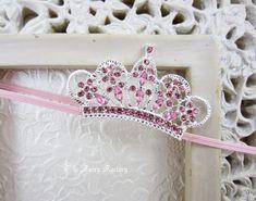 Baby Headband, Baby Tiara, Pink Tiara Headband, Baby Girl Princess, Photo Prop, Crystal, Rhinestone, Newborn Toddler Child Girls Headband