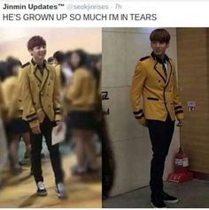 Jungkook was so small back then ////LOOK HOW MUCH HE'S FILLED OUT! The uniform is so tight now wherebefore it was baggy