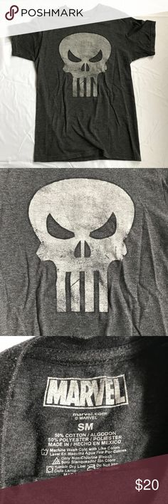 """Marvel The Punisher Grey Skull Shirt - Small Marvel The Punisher Shirt Size SMALL Grey T-Shirt Tee Skull Shirt Mens Comic Con  Grey graphic tee. Very soft!  Good condition. Some pilling.  Size: Small Chest/Bust (flat): 17""""-19"""" Length (from shoulder): 27""""  50% Cotton. 50% Polyester.  Please check out my Trixy Xchange Closet for more tees!  Tags: gray comic book convention mens womens unisex Marvel Tops Tees - Short Sleeve"""