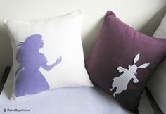 alice and white rabbit pillows