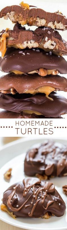 Homemade Turtles - Fast, easy, no-bake and just 4 ingredients! Chewy, gooey, salty-and-sweet! Homemade always tastes better! Candy Recipes, Sweet Recipes, Baking Recipes, Cookie Recipes, Snack Recipes, Dessert Recipes, Snacks, Just Desserts, Delicious Desserts