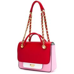Moschino Colour Block Tote (47 395 UAH) ❤ liked on Polyvore featuring bags, handbags, tote bags, leather handbags, genuine leather tote, red handbags, handbags totes and red leather handbag