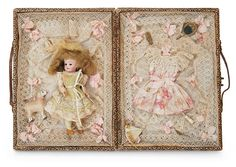 The Lifelong Collection of Berta Leon Hackney: 471 Pretty Miniature Bisque Doll in Elaborate Trousseau Case for the French Market
