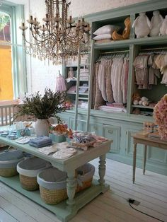 Shabby chic store display. My tip for choosing walk-in closet design and interiors, compare interiors of clothes shops and pick your inspiration. Just avoid taking pictures because some shops are not comfortable with their shop's interior or furniture or product being photographed. - Love, Grace