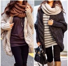 Where can I find these outfits?!?! Adorable scarf and oversized cardigan styles