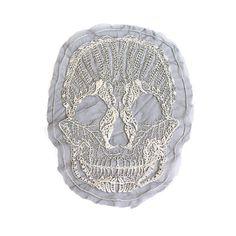Large Ecru Lace Skull Applique on Black Mesh by felinusfabrics, $6.75
