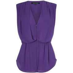 Spell On You Suzy Top Woman ❤ liked on Polyvore featuring tops, silk top, purple silk top, french connection top, low v neck tops and drapey top