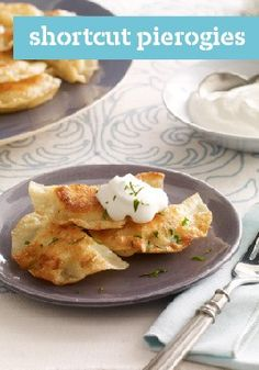Shortcut Pierogies – Save your traditional pierogi recipe for another day! This easy version takes just 15 minutes to prepare. Serve with sour cream and satisfy.