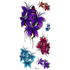 Purple Flowers Temporary Tattoos for Maverick Women Teens Girls Party Favors -- Click on the image for additional details. (This is an affiliate link) #NoveltyGagToys