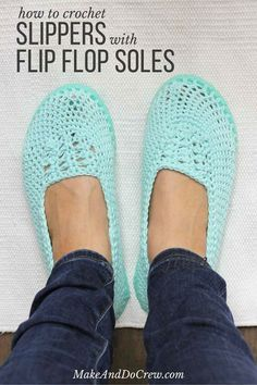 8c3e4b83d81c1 Cotton yarn and a flip flop sole make this free crochet slippers (or house  shoes