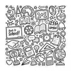 Find School Hand Drawn Doodle Coloring Vector stock images in HD and millions of other royalty-free stock photos, illustrations and vectors in the Shutterstock collection. Cute Doodle Art, Doodle Art Designs, Doodle Art Drawing, Doodle Patterns, Easy Doodles Drawings, Mini Drawings, Simple Doodles, Cool Art Drawings, Doodle Books
