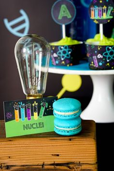 Nuclei Macarons + Decor from a Sweet Label Decor from a Scientist Themed Birthday Party via Kara's Party Ideas | KarasPartyIdeas.com (9)