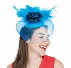 Clip On Blue Rose Feather Fascinator Hat 6 X