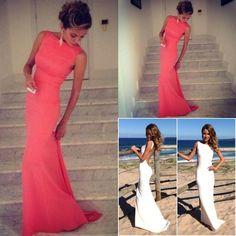 Coral Prom Dresses 2015 Vintage High Neck Backless Evening Dresses Long Wedding Party Dress Fitted Beach Maxi Prom Dress Formal Under Online with $73.82/Piece on Lucklover's Store | DHgate.com