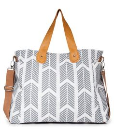 Gray Arrows Weekender Tote Bag - Diaper Tote Bag by White Elm