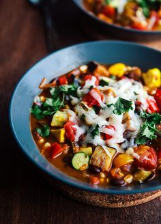 Summer Vegetable Black Bean Chili by somethewiser #Chili #Veggie #Black_Bean
