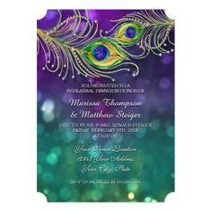 Formal Dinner Rehearsal Dinner Invitations Rehearsal Dinner Peacock Feather Jeweled Feathers Card