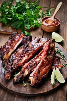 Buy Grilled sliced barbecue pork ribs by on PhotoDune. Grilled sliced barbecue pork ribs on wooden board Barbecue Pork Ribs, Ribs On Grill, Lunch Recipes, Cooking Recipes, Fat Foods, Eat Fat, Grilling, Food And Drink, Appetizers