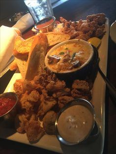 An appetizer we shared at Pappadeaux Seafood Kitchen in Arlington, TX  #Trio Fried Alligator #Calamari #CrawfishFondeaux. #Delicious