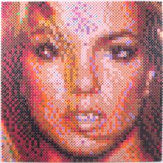 Celebrity portraits from  melted together plastic beads!