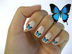 blue Butterfly nail art