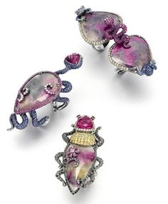 18-karat gold 'Bondage Bug' rings with white, brown and black diamonds, yellow, pink and blue sapphires, ruby, tourmaline and garnet