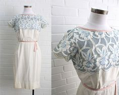 Vintage 1950s White and Blue Embroidered Lace Dress sz Small. $148.00, via Etsy.