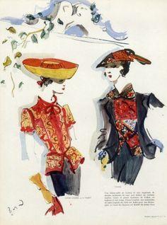 Lucien Lelong & Chanel 1937 Blouses, Christian Bérard