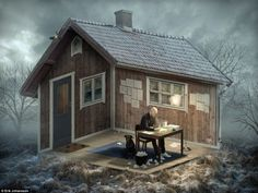 Crazy Writer's Cabin Optical Illusion - http://www.moillusions.com/crazy-writers-cabin-optical-illusion/