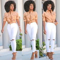 83e2061a8b Safari Inspired Boyfriend Shirt + Ripped White Jeans Outfit Details  Shirt   Available here