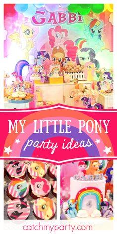 Party Mommas PH's Birthday / My Little Pony - Gabbi's My Little Pony Birthday Party! at Catch My Party Little Pony Cake, My Little Pony Birthday Party, Girls Birthday Party Themes, Unicorn Birthday Parties, Rainbow Birthday, 4th Birthday, Birthday Ideas, Rainbow Parties, Party Activities